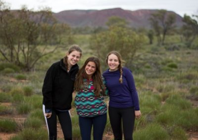 Students posing for a picture in the Australian outback