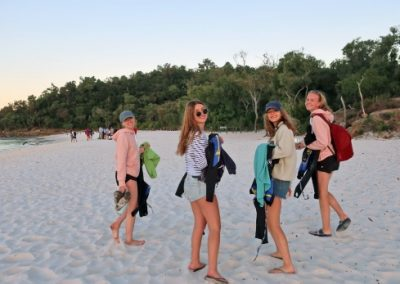 Students on a beach in Australia