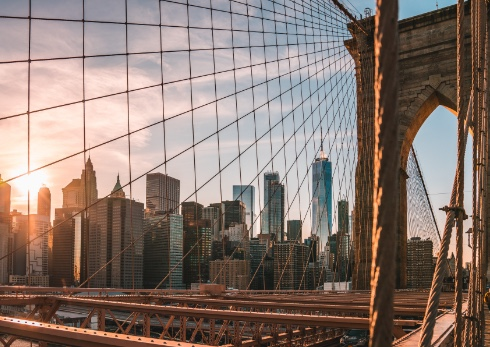 A view of the Brooklyn Bridge in New York City