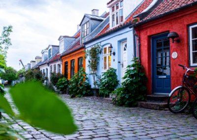 A row of house on a cobblestone street in Denmark