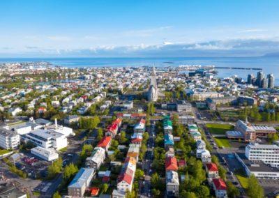 Arial view of Reykjavík, Iceland