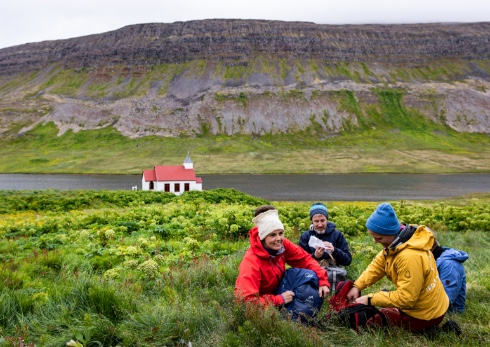 Students having an outdoor picnic in Iceland