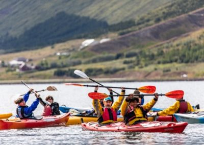 Students and leaders on a kayaking trip in Iceland