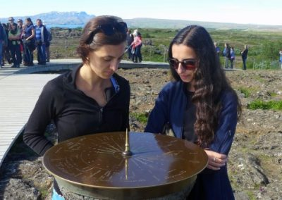 Students looking at a sundial in Iceland