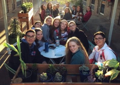 Students at an outdoor dinner